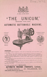 Advert for the Unicum Automatic Buttonhole Machine 7072